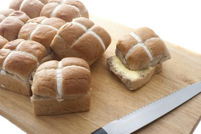 Buttered Fresh Hot Cross Buns