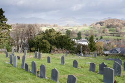 Gravestones in the churchyard at Hawkshead