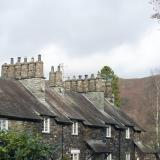 Row of quaint stone cottages at Skelwith Bridge