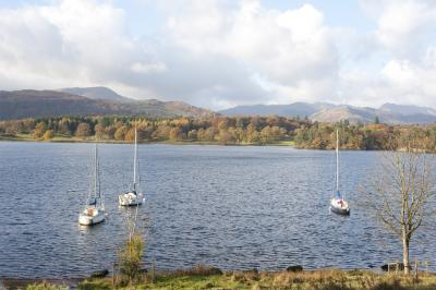 Yachts in Windermere Lake in the Lake District
