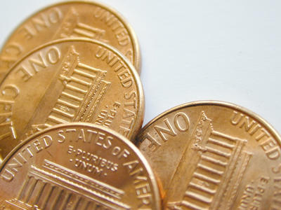 one cent coin - Value Stock Photo